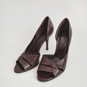 ALDO Shoes Heels Brown Leather Size 8